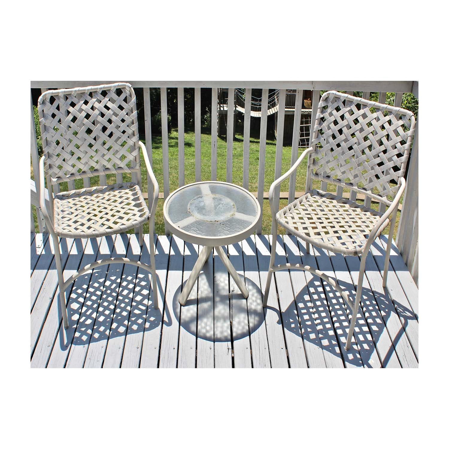 Woven Metal Patio Chairs and Table