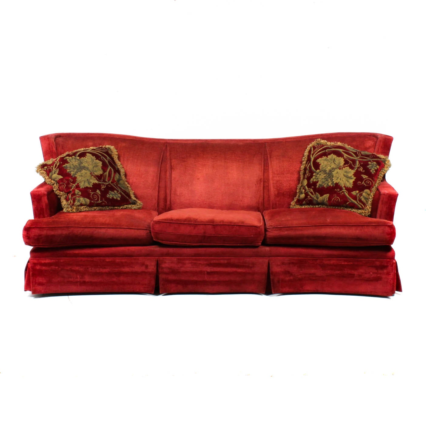 Chenille Skirted Sofa: Wingback Sofa Furniture
