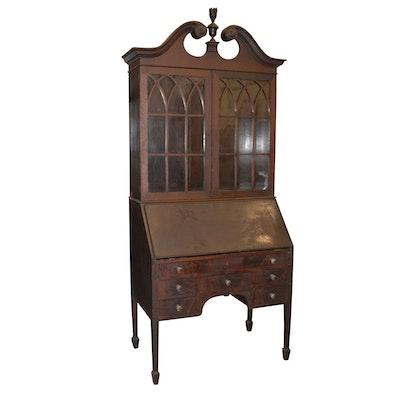 Sheraton Style Mahogany Secretary - Online Furniture Auctions Vintage Furniture Auction Antique