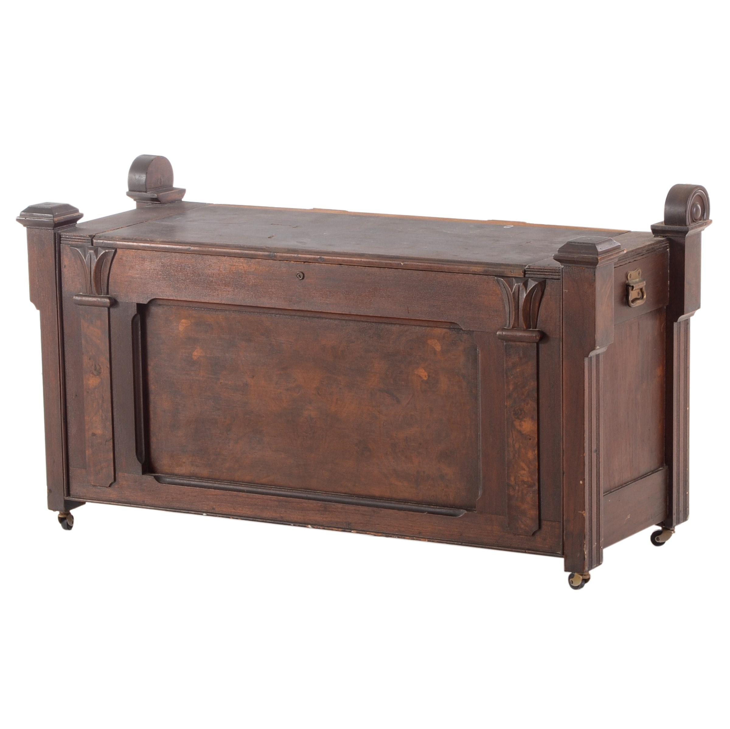 Eastlake Walnut Bench / Storage Chest ...