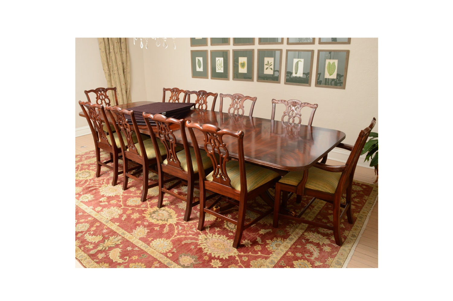 Vintage Chippendale Style Mahogany Dining Table with Chairs by Maitland-Smith