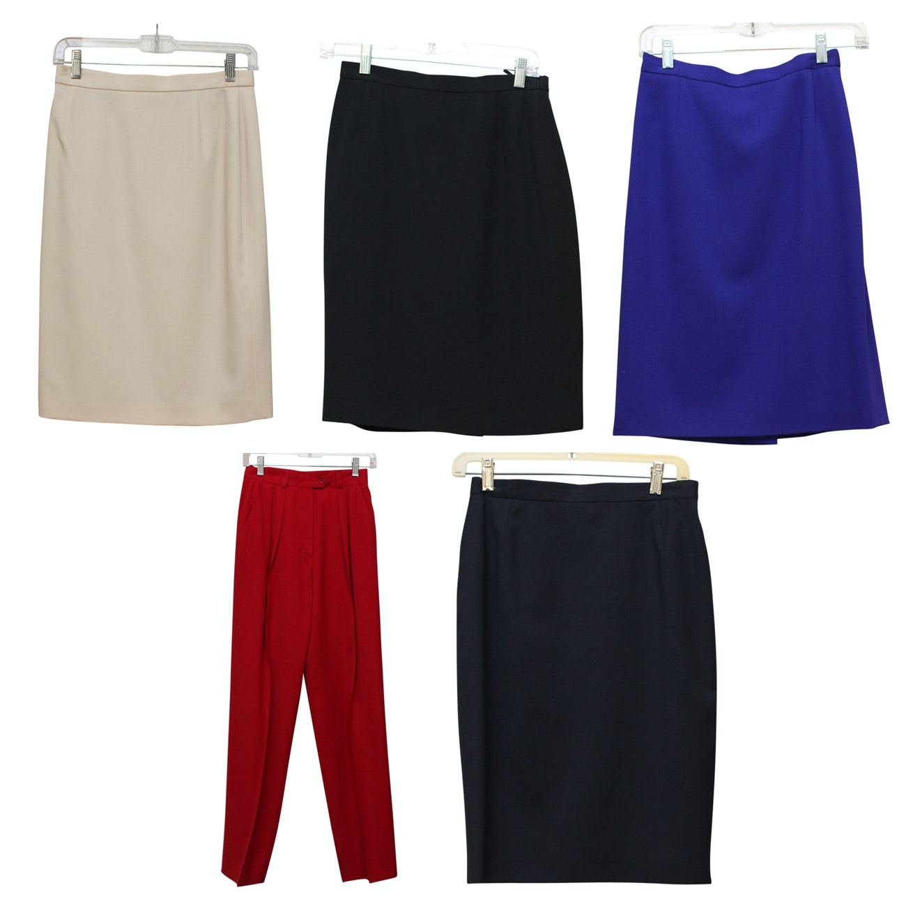 Escada Red Slacks and Three Wool Skirts in Various Colors