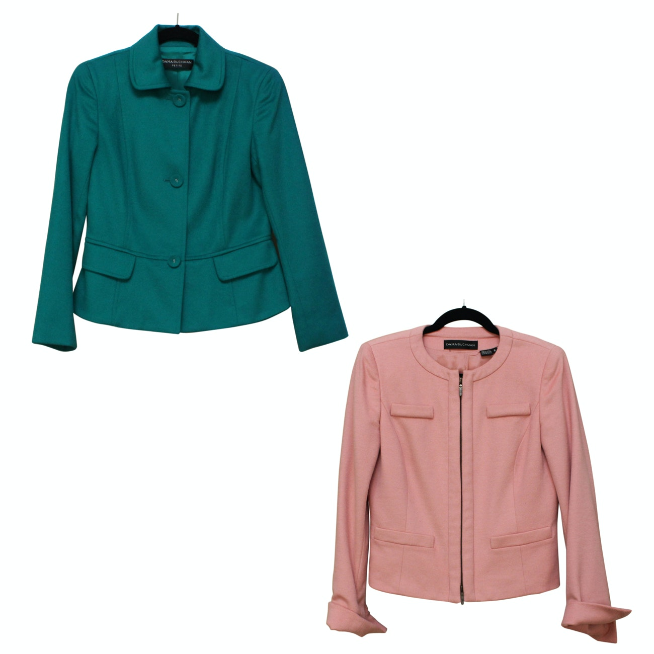 Two Dana Buchman Cashmere Jackets in Teal and Pink