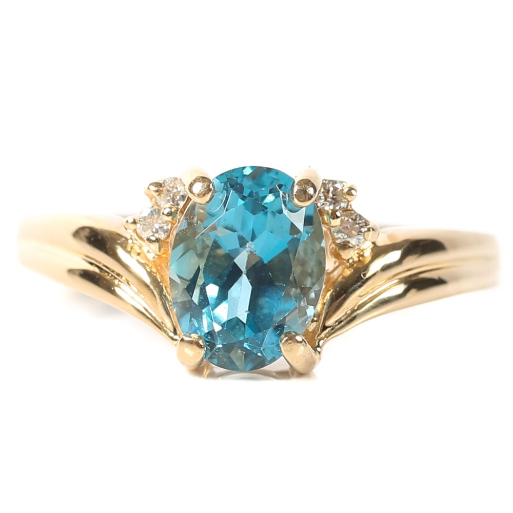 14K Yellow Gold, 1.65 CT Blue Topaz, and Diamond Ring