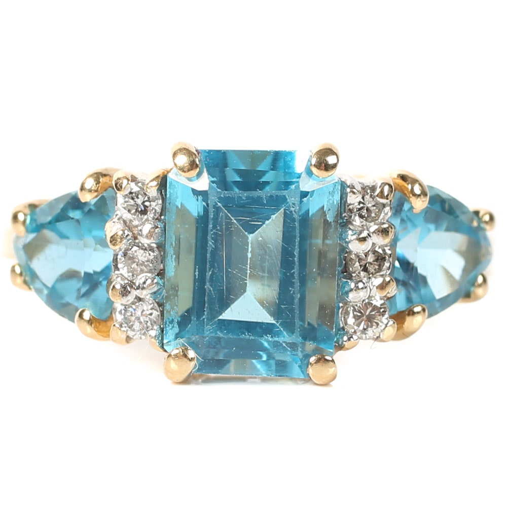 14K Yellow Gold, 4.05 CTW Blue Topaz, and Diamond Ring