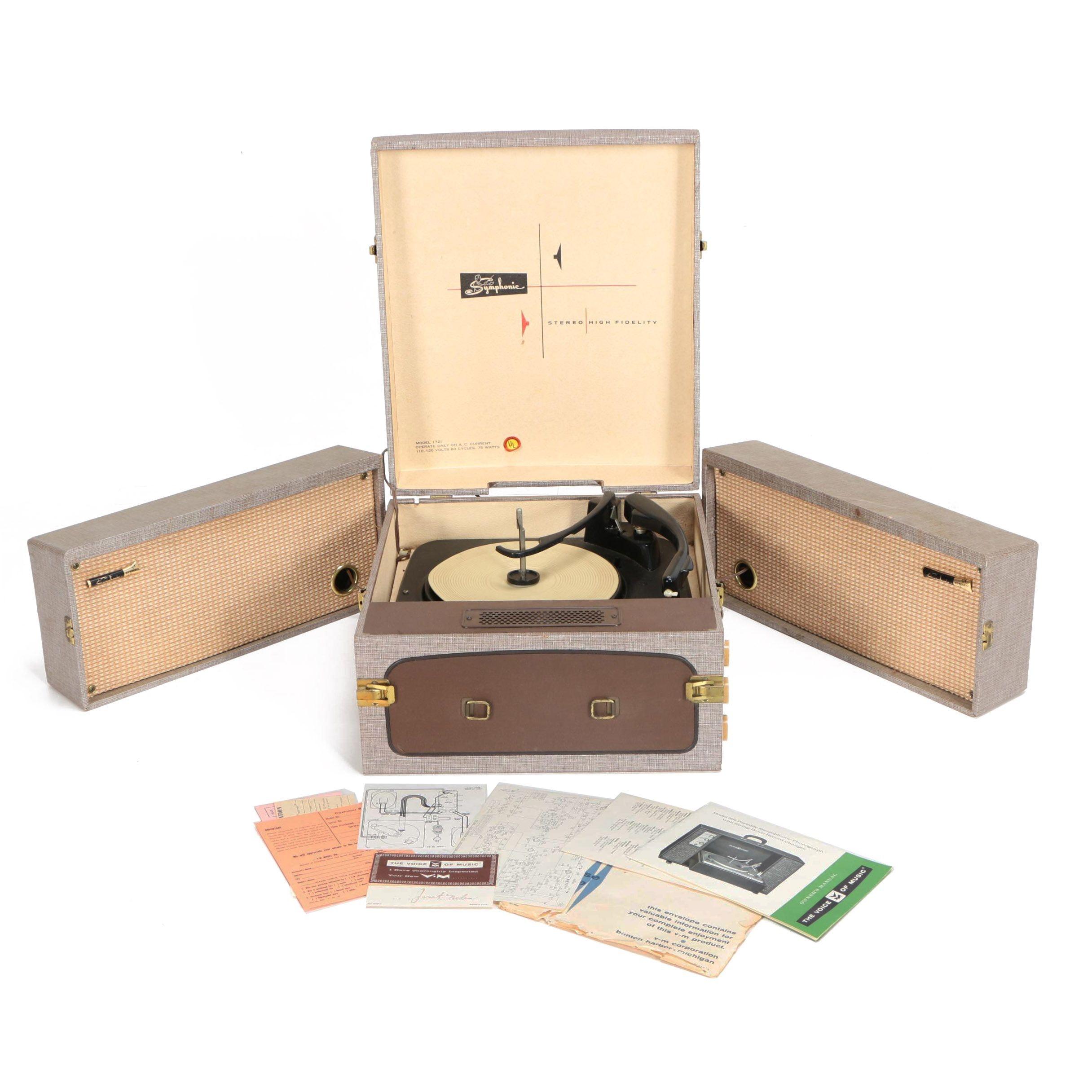 Mid Century Portable Telefunken Hyde Park Turntable