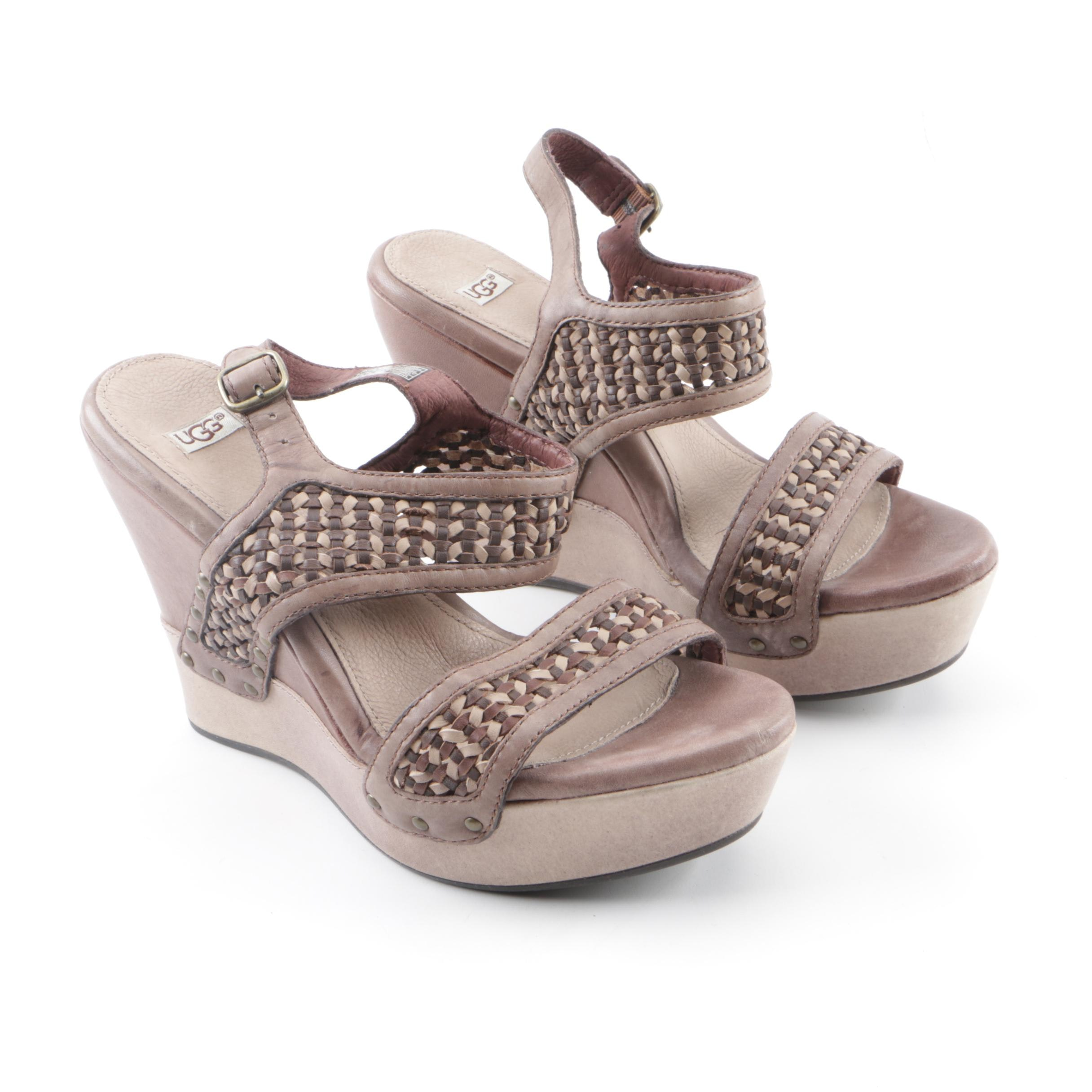 Women's UGG Assia Woven Leather Wedge Sandals