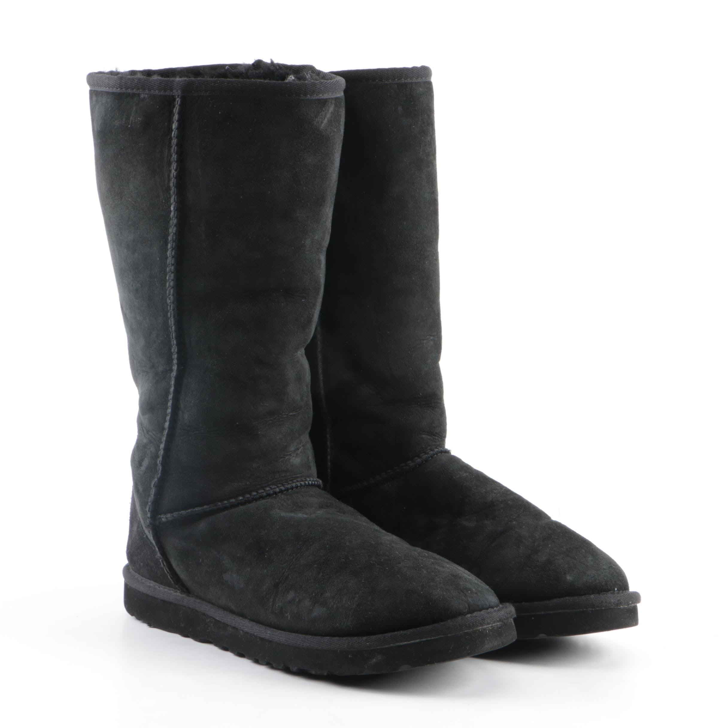 Women's UGG Australia Classic Tall Black Suede and Shearling Boots