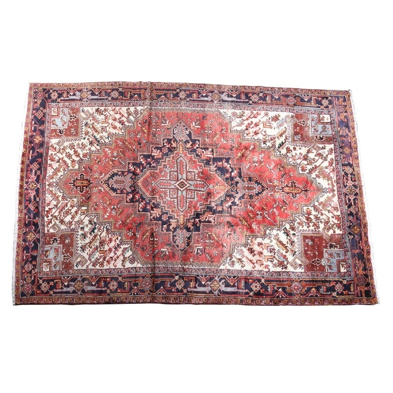 Vintage Hand-Knotted Persian Heriz Wool Area Rug