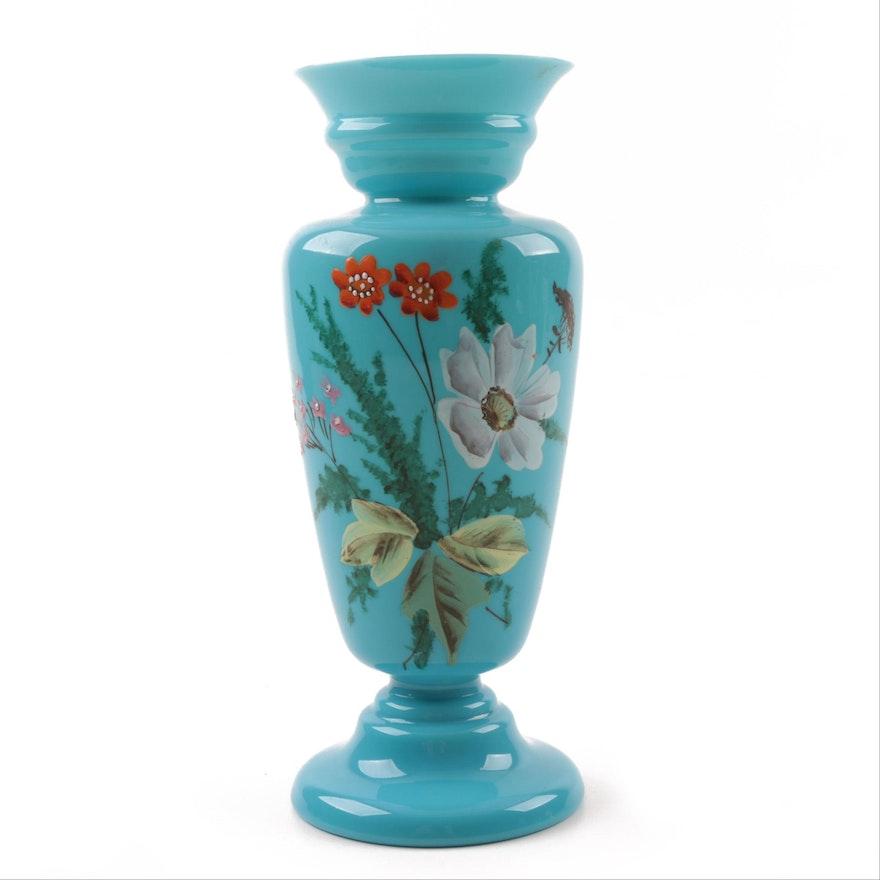 Antique Hand Painted Turquoise Bristol Glass Vase Ebth