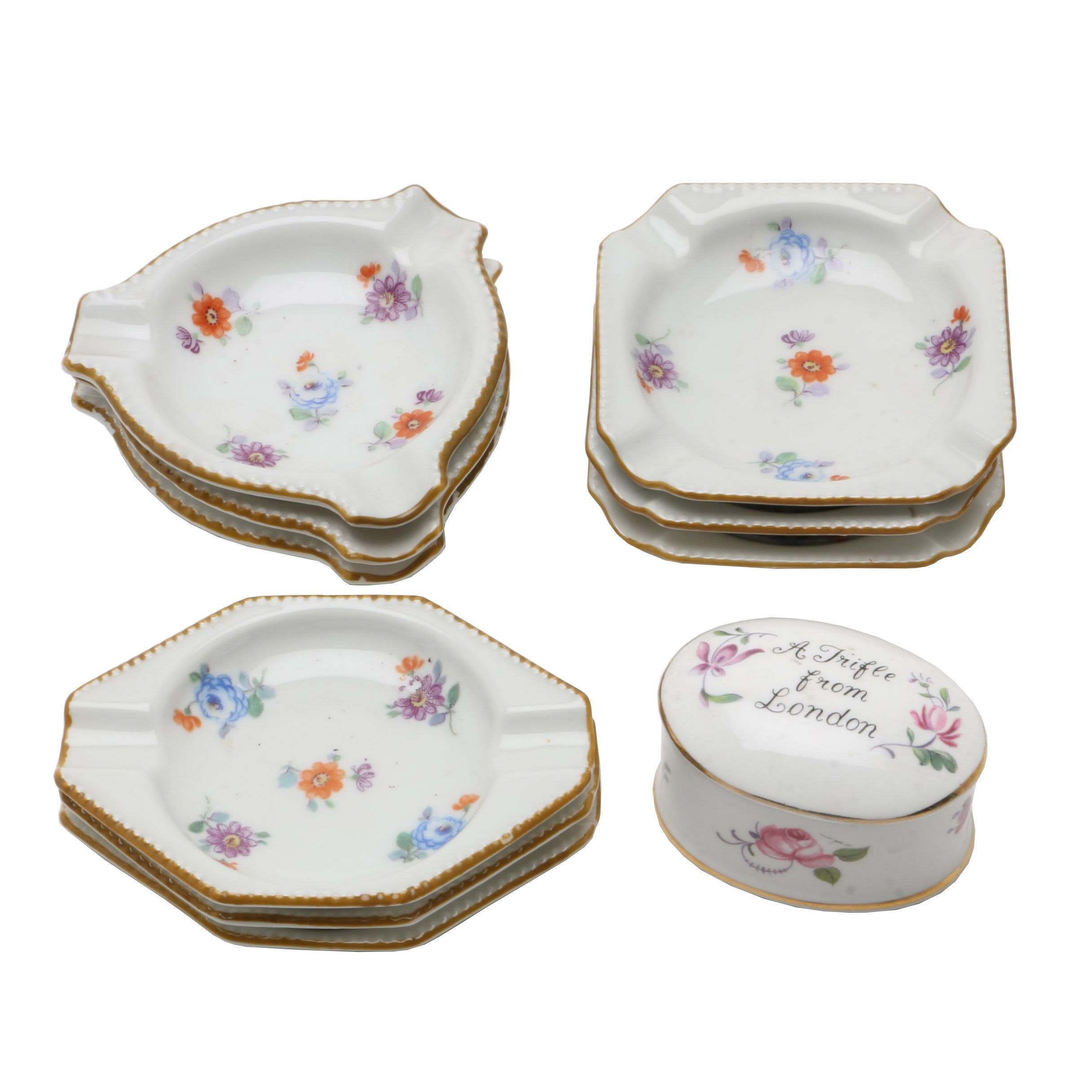 Nine German Porcelain Ashtrays by Schumann, Bavaria, 20th Century