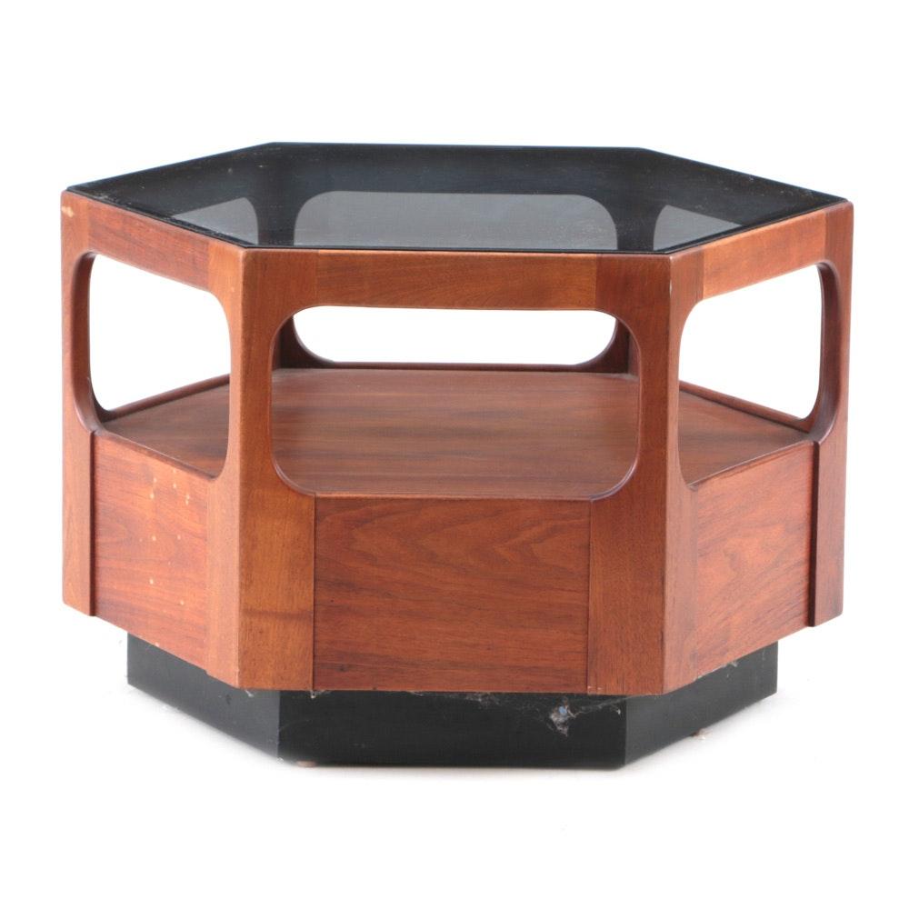 Otmar Hexagonal Walnut End Table with Tinted Glass