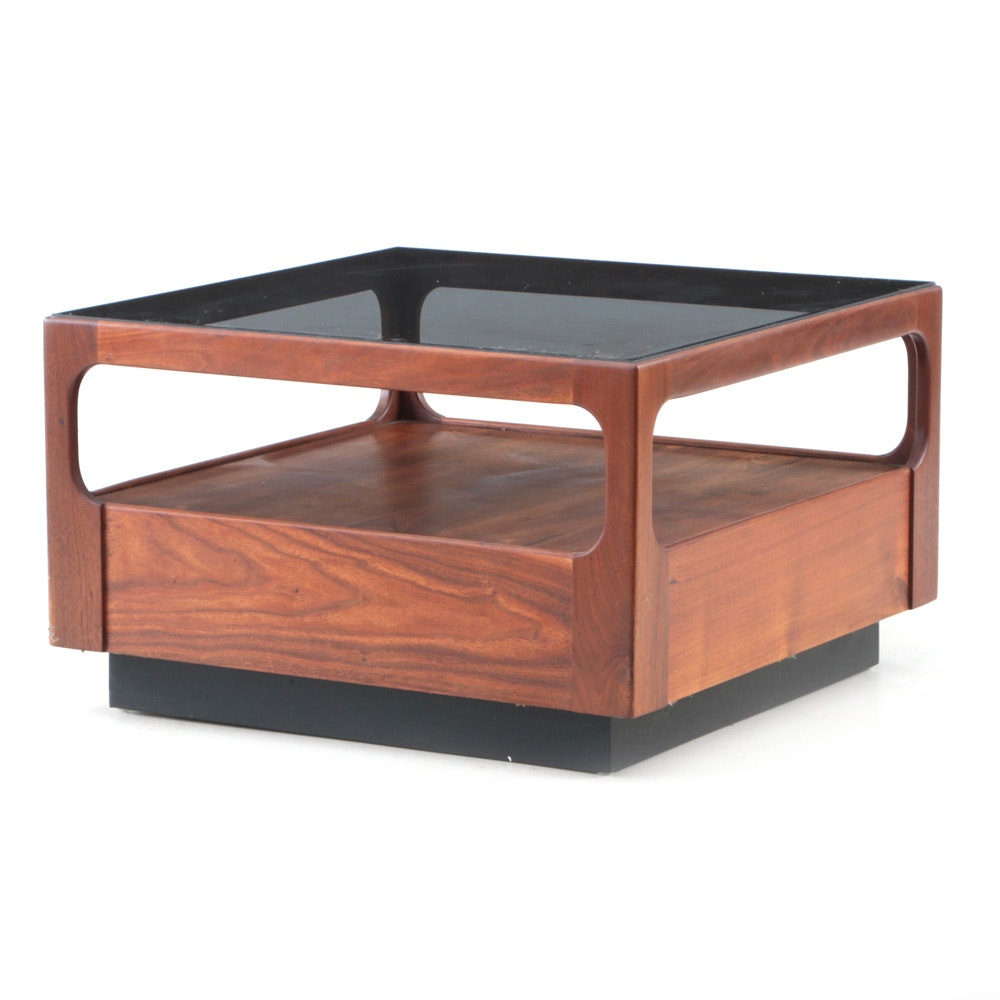 Otmar Walnut Framed End Table with Tinted Glass