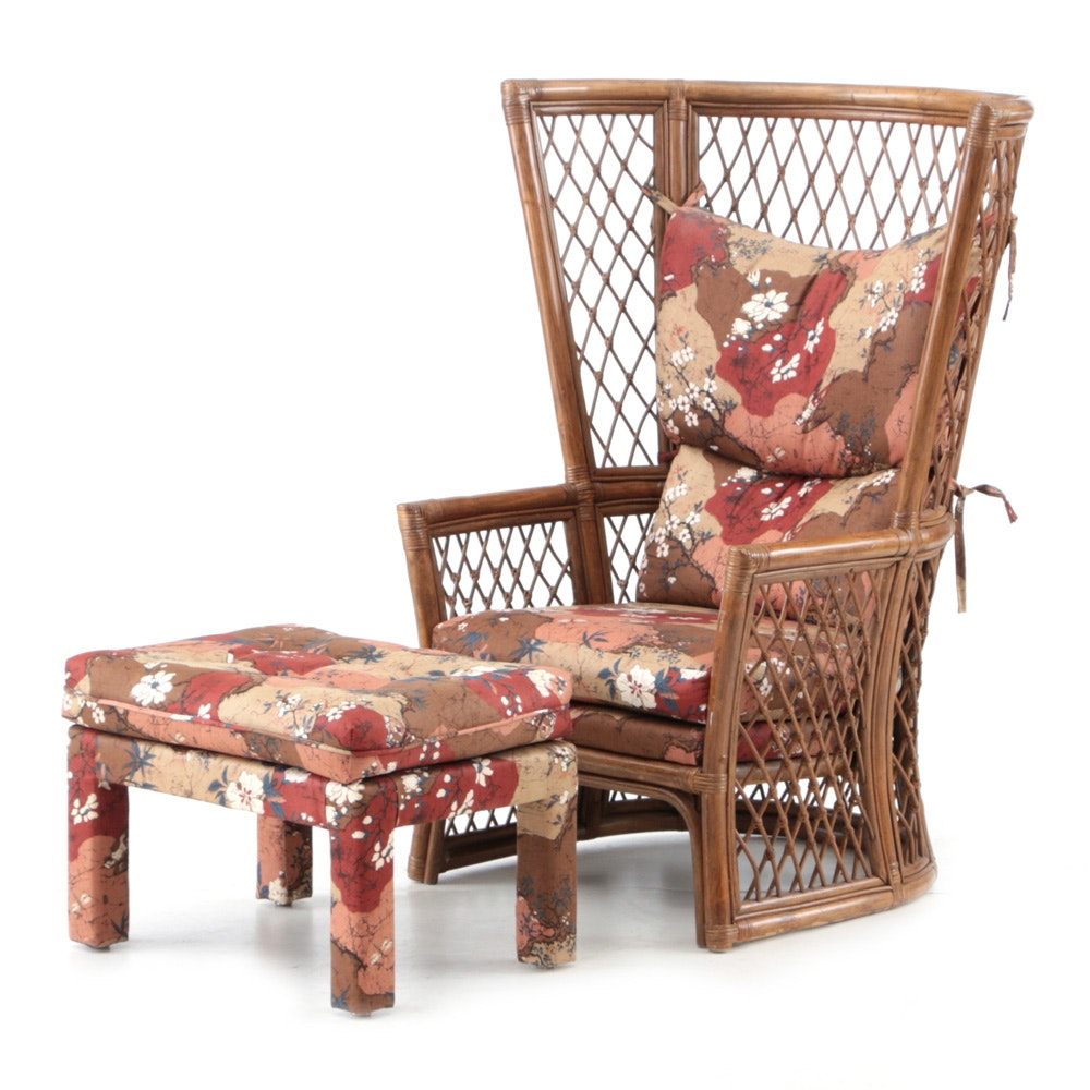 Rattan High-Back Lounge Chair and Upholstered Ottoman