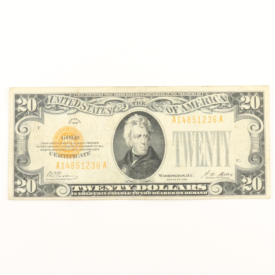 Series Of 1928 Us 20 Gold Certificate Ebth