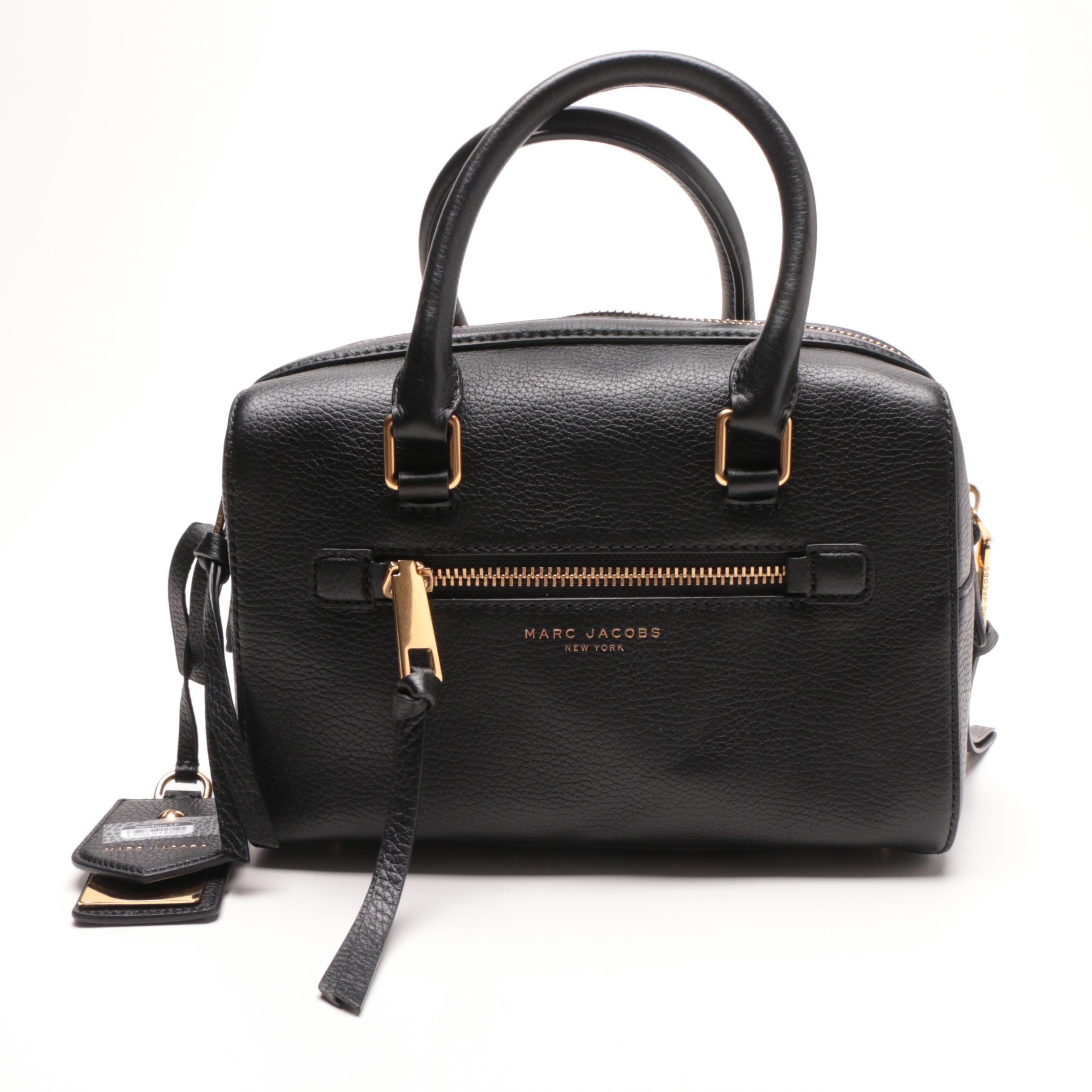 Marc Jacobs New York Recruit Bauletto Black Leather Handbag