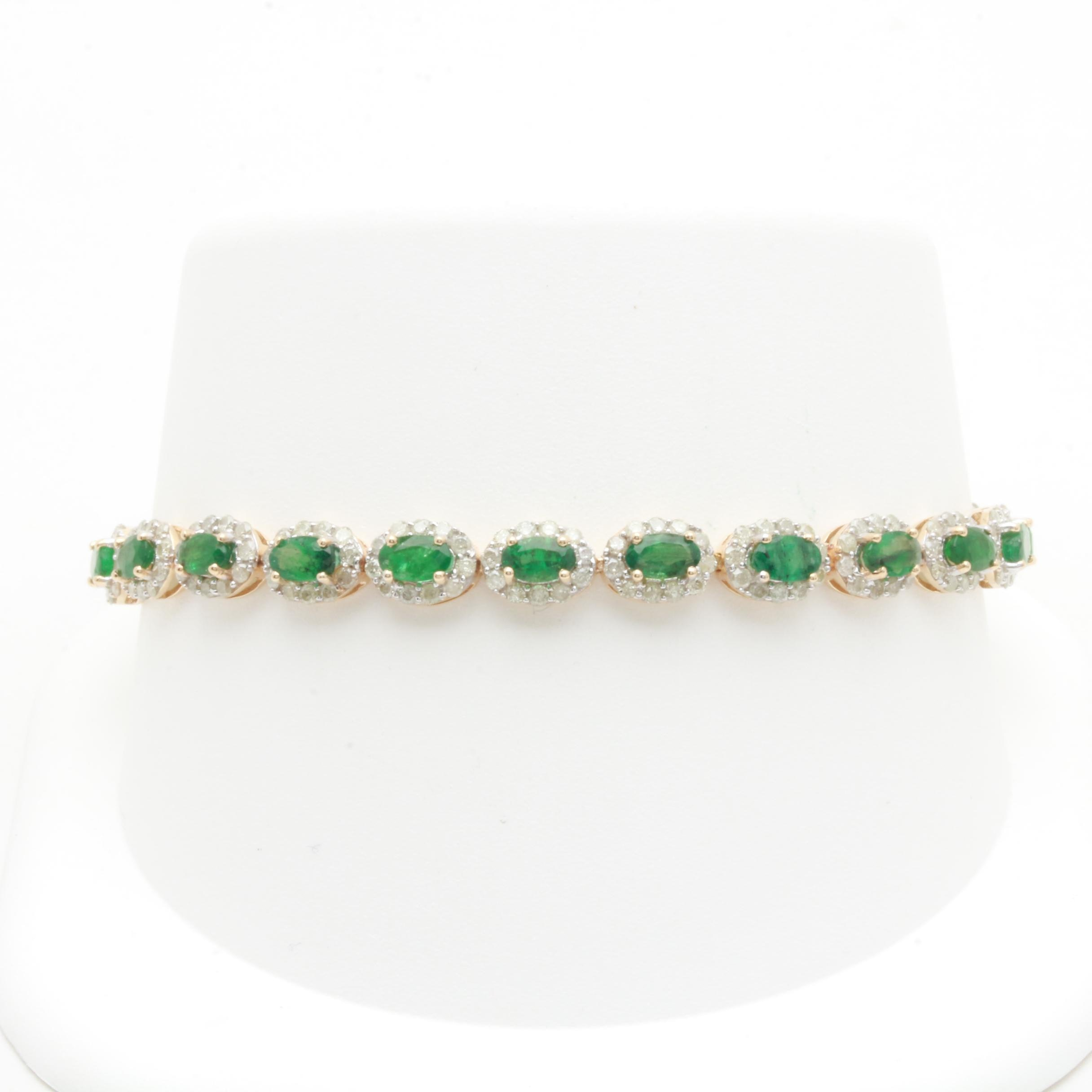14K Yellow Gold Emerald and 2.86 CTW Diamond Bracelet