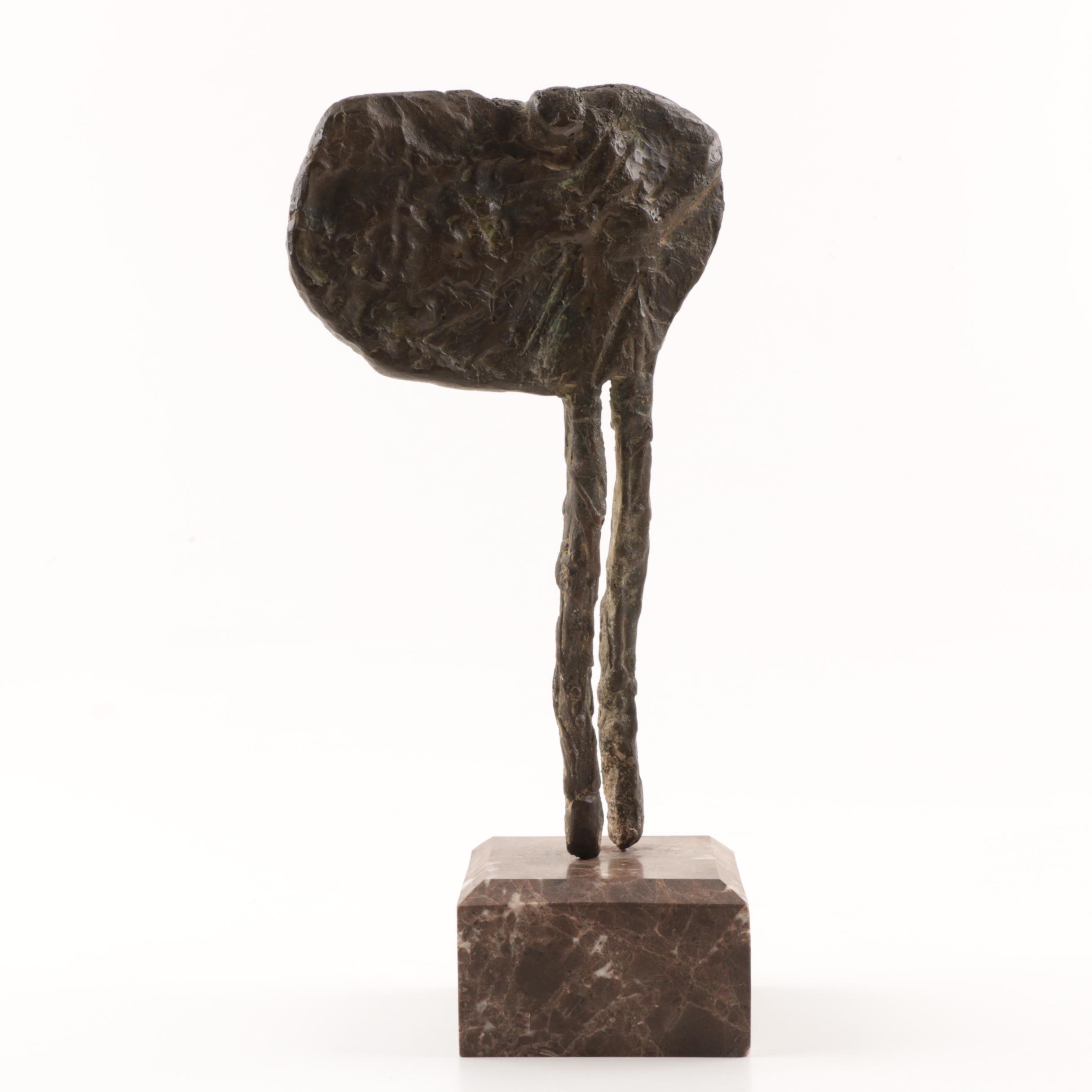Bronze Brutalist Sculpture on Marble Base