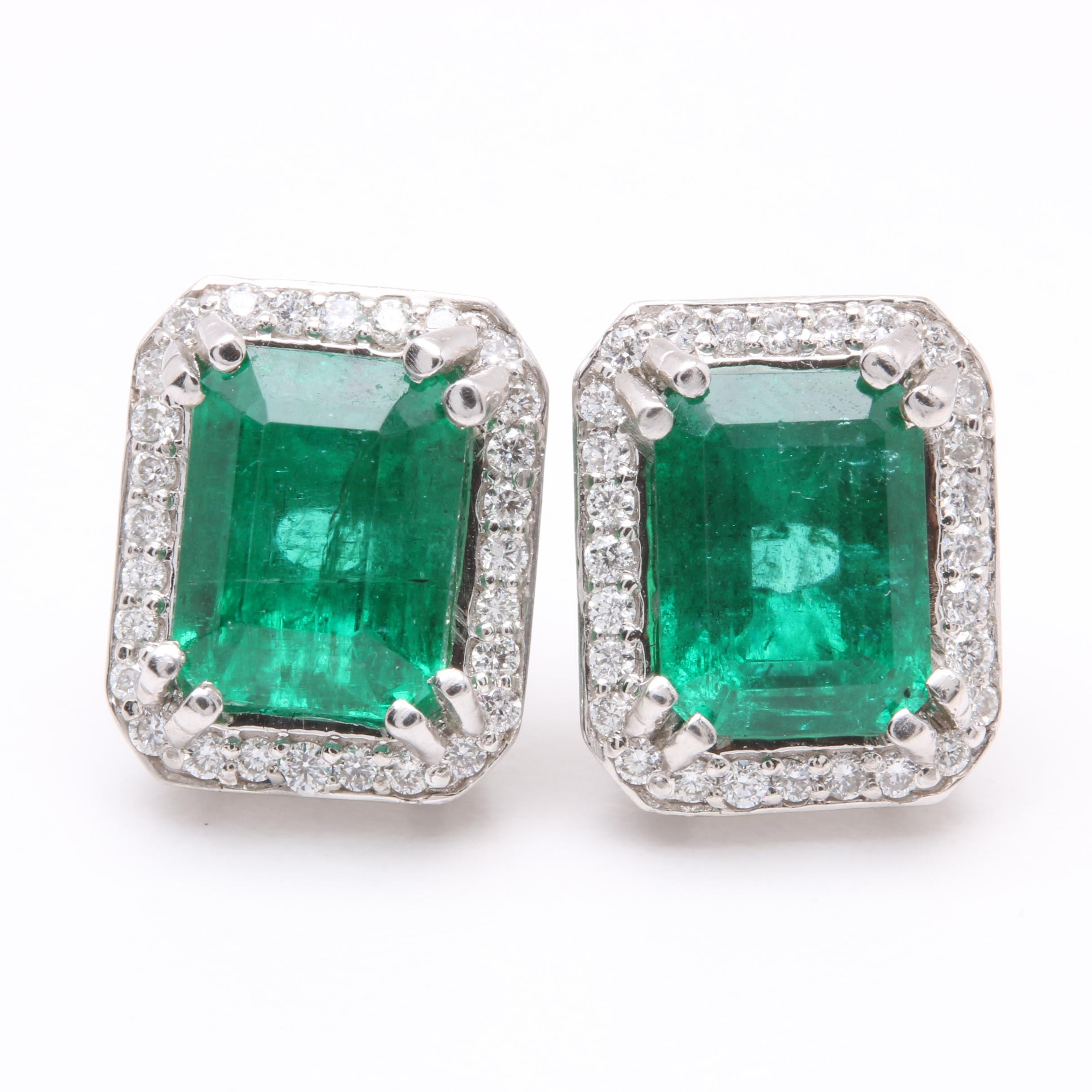 Platinum and 18K White Gold 3.52 CT Emerald and Diamond Earrings