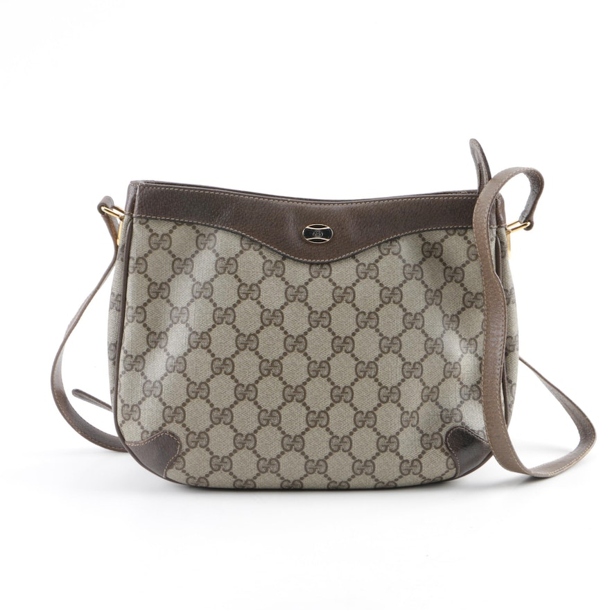 3bd8a329c12598 Vintage Gucci Accessory Collection' GG Supreme Canvas and Leather Shoulder  Bag ...