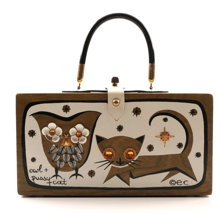 1966 Vintage Enid Collins Of Texas Owl And Cat Hand Decorated Box Purse