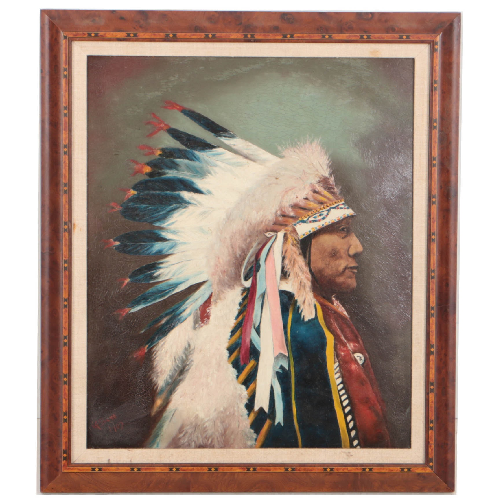 1907 Oil Painting on Board of Brulé Lakota Chief Hollow Horn Bear