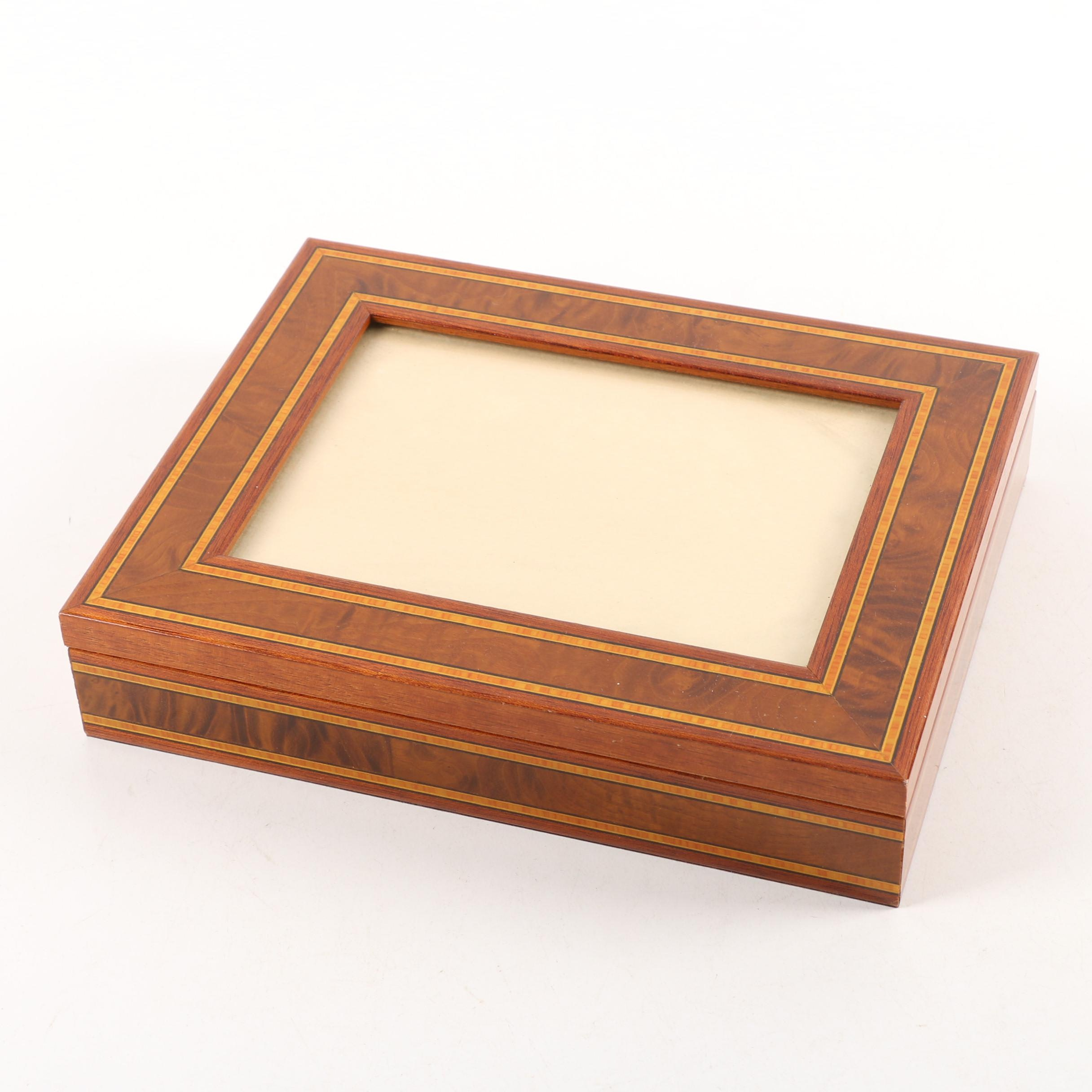 Cnd Paris Marquetry Inlaid Wooden Jewelry Box With Picture Frame