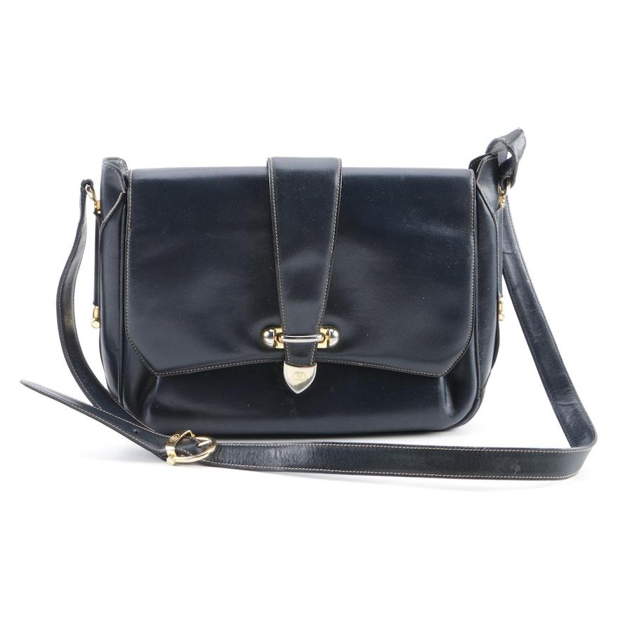 dca95d9d898 Vintage Gucci Navy Blue Leather Shoulder Bag   EBTH