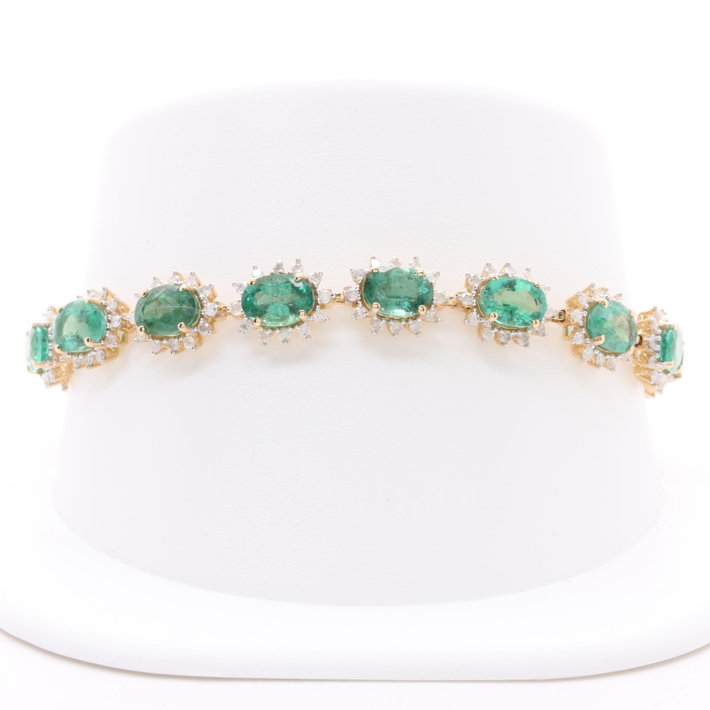 14K Yellow Gold Emerald and 1.85 CTW Diamond Bracelet