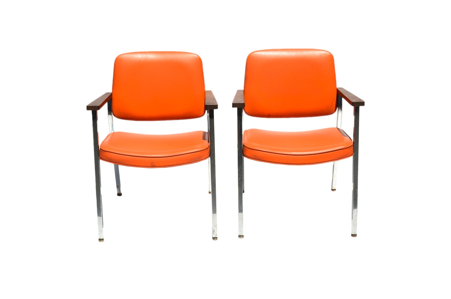 Mid Century Modern Orange Vinyl Office Chairs by United Chair Company