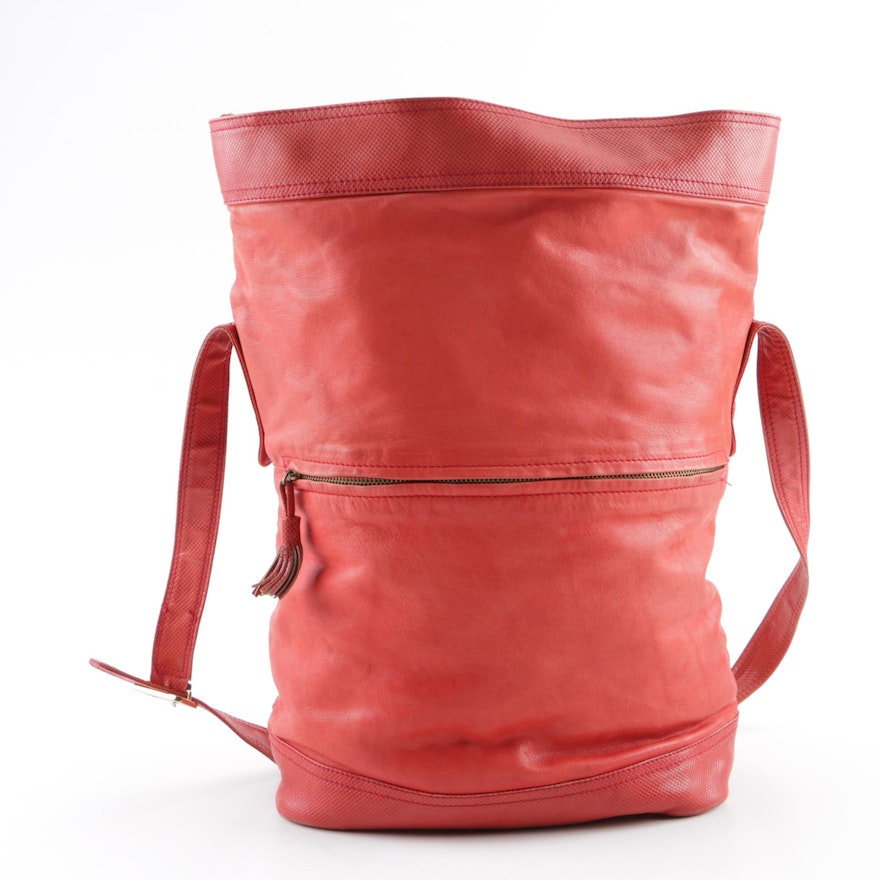Vintage Bottega Veneta Red Leather Bucket Bag   EBTH c7255f0f7bf7f