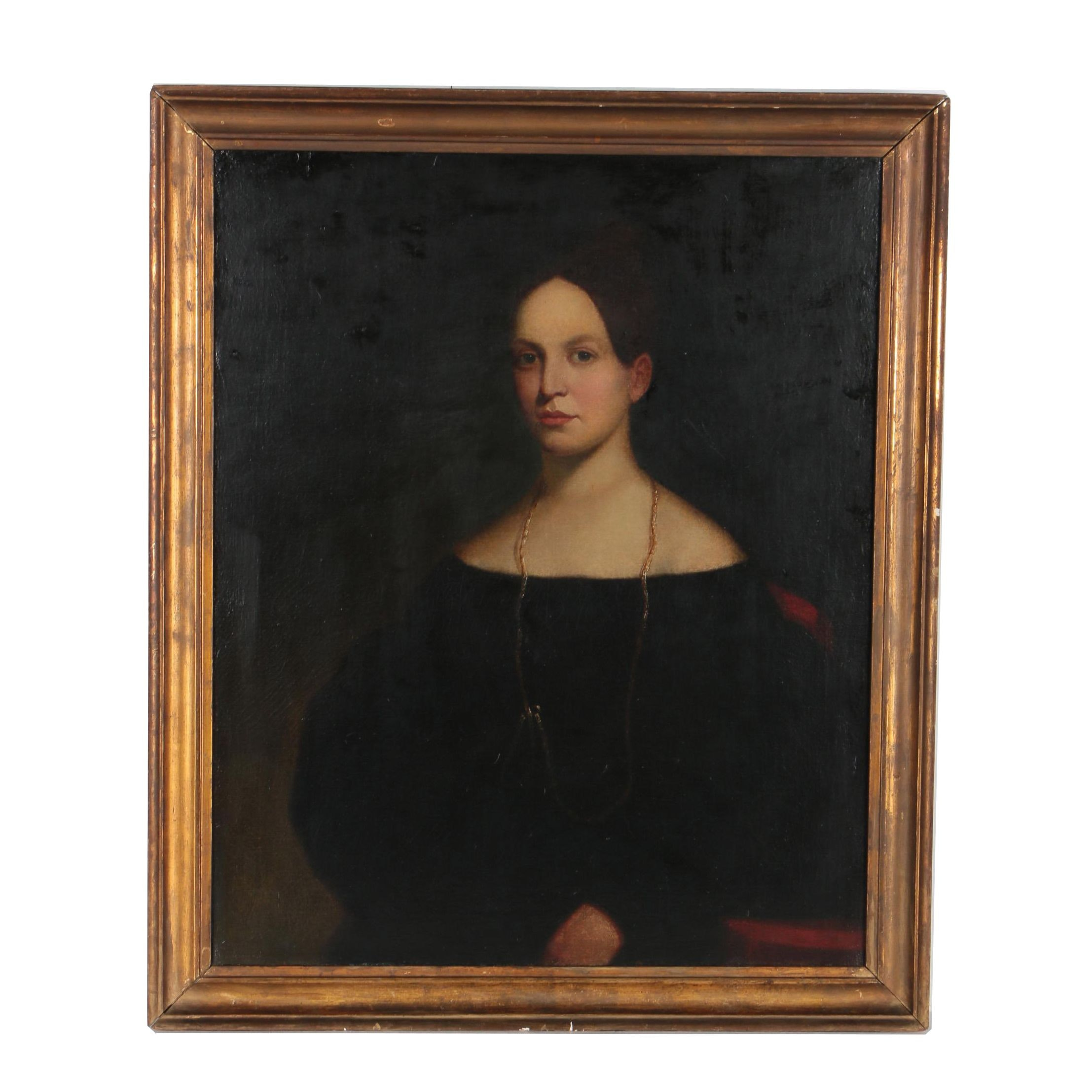 Antique Oil Painting Portrait of a Woman