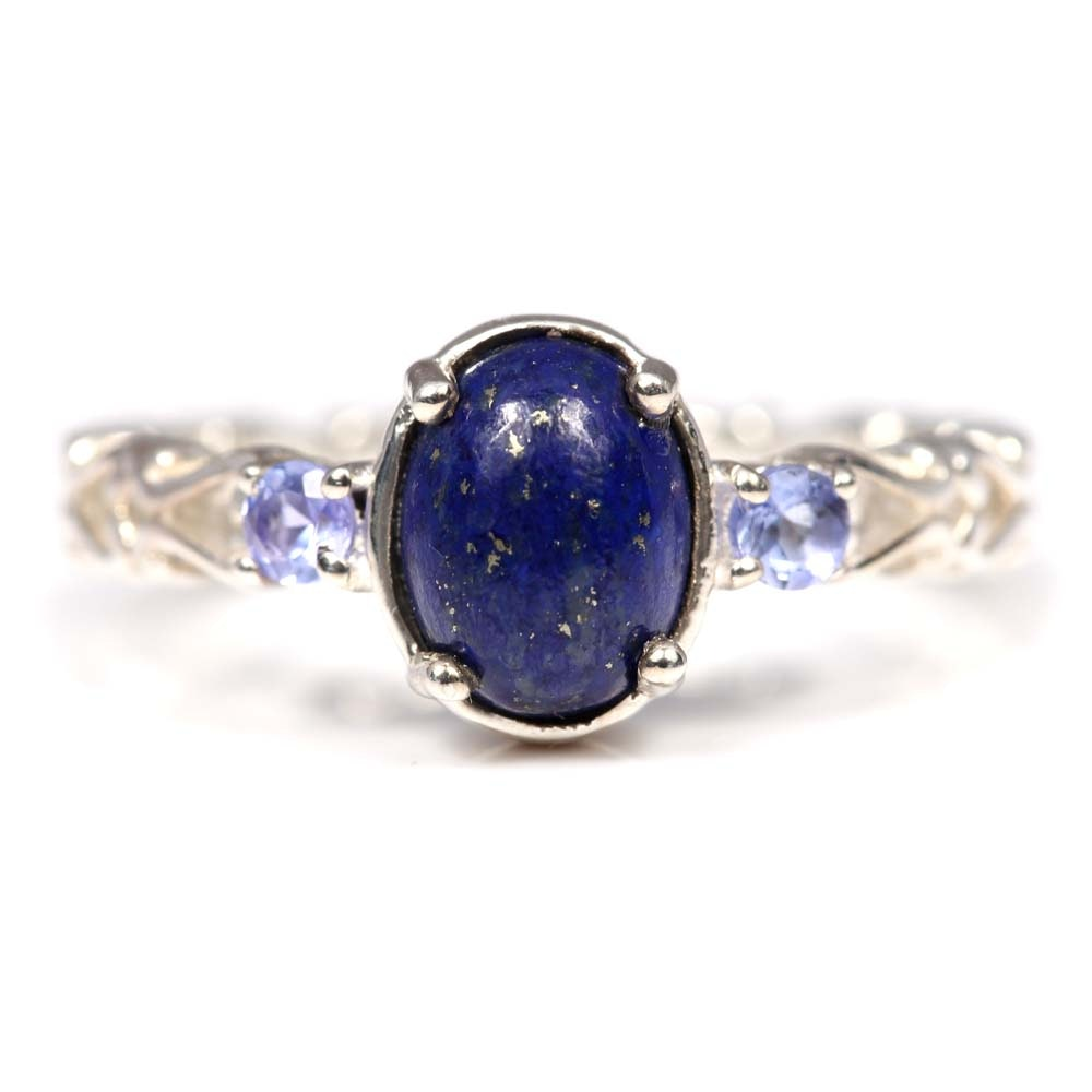 Sterling Silver, Lapis Lazuli, and Tanzanite Ring
