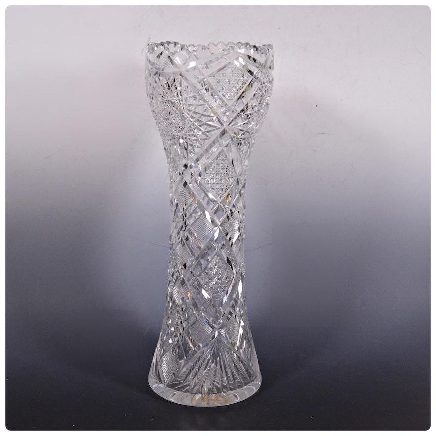 American Brilliant Period Cut Glass Hourglass Shaped Vase Ebth