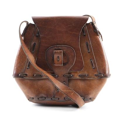 2c83306c5966 Vintage Handmade Brown Leather Shoulder Bag