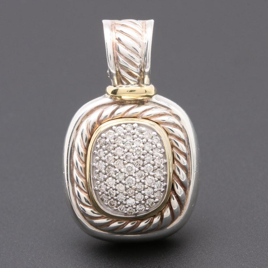David Yurman Albion Collection Sterling Silver Diamond Pendant With 18k Gold Ebth
