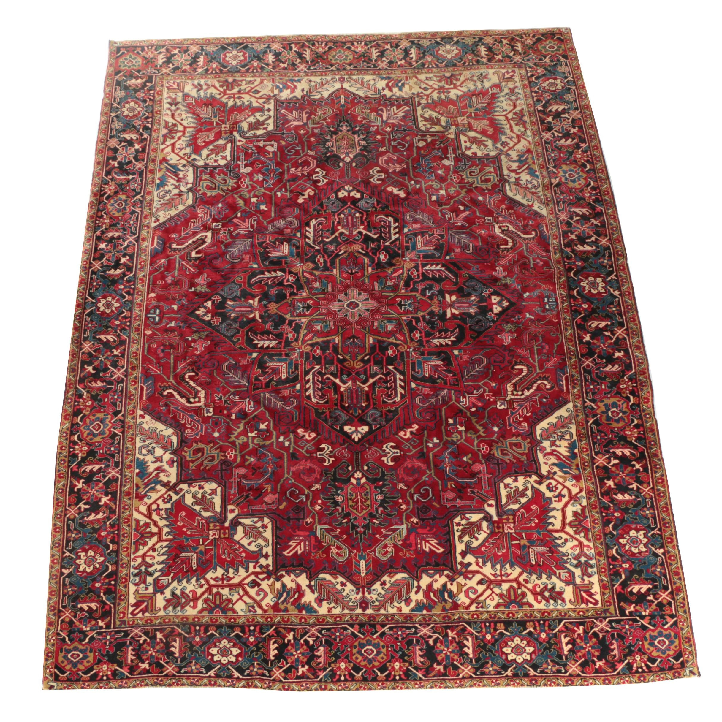 Hand-Knotted Persian Heriz Serapi Wool Room Sized Rug