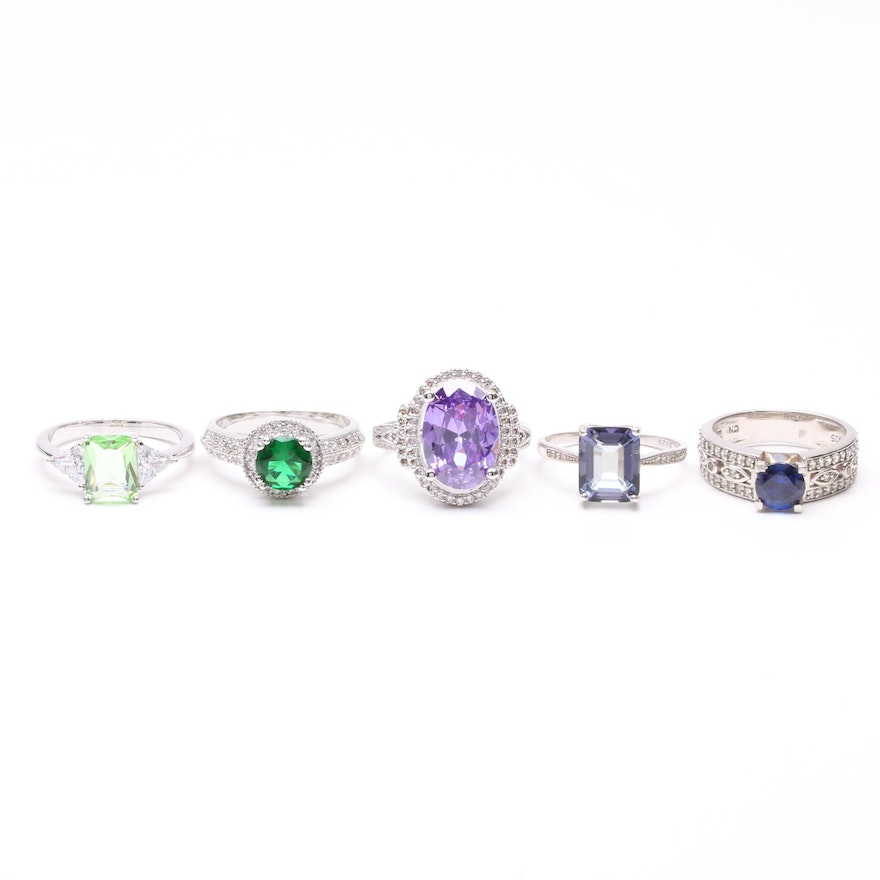 Sterling and Silver Tone Rings Including Synthetic Spinel and Synthetic Sapphire