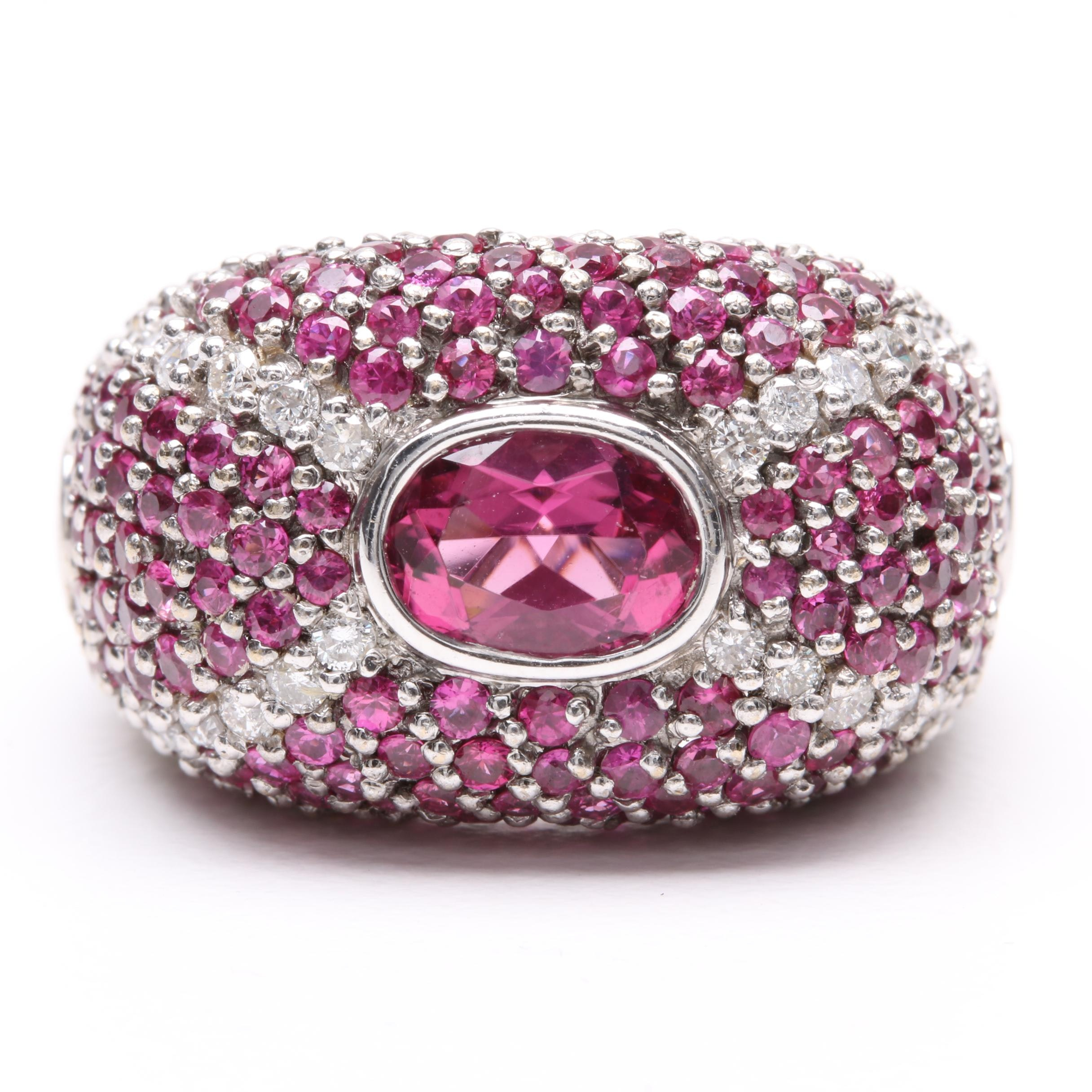 18K White Gold Pink Tourmaline, Ruby, and Diamond Ring