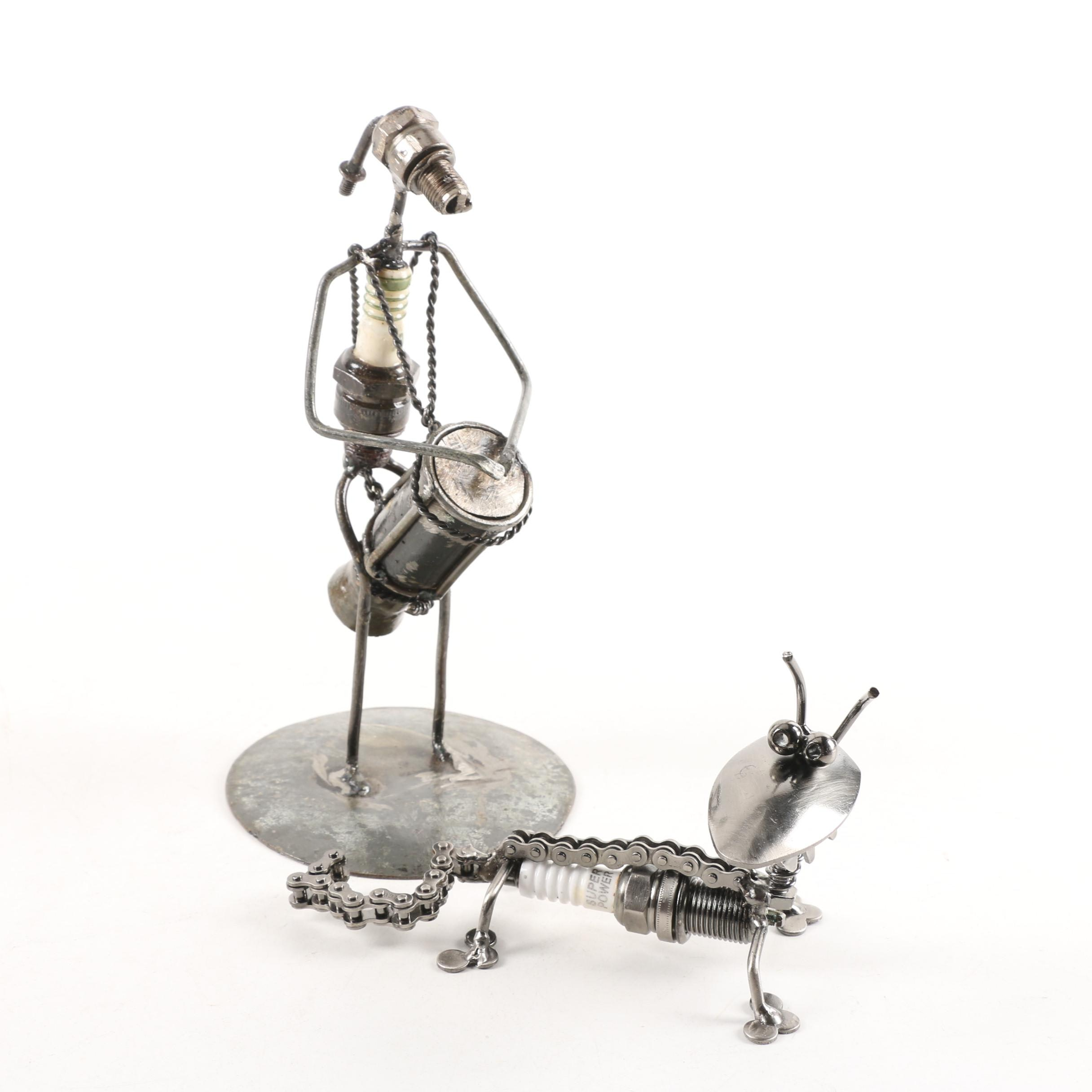 Repurposed Metal Sculptures of Drummer and Animal Figures