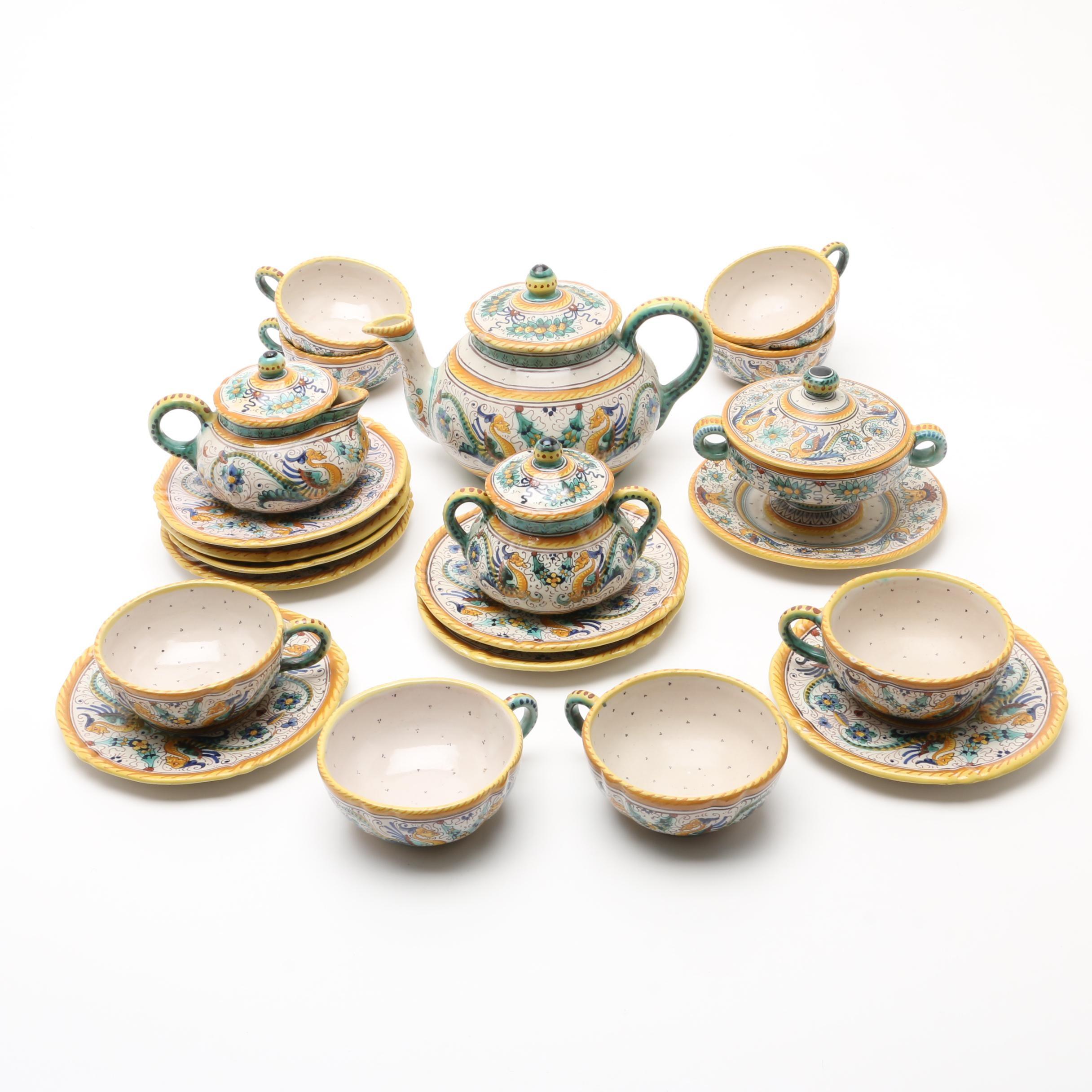 "Vintage Italian Deruta Pottery Tea Set in the ""Raffaellesco"" Pattern"