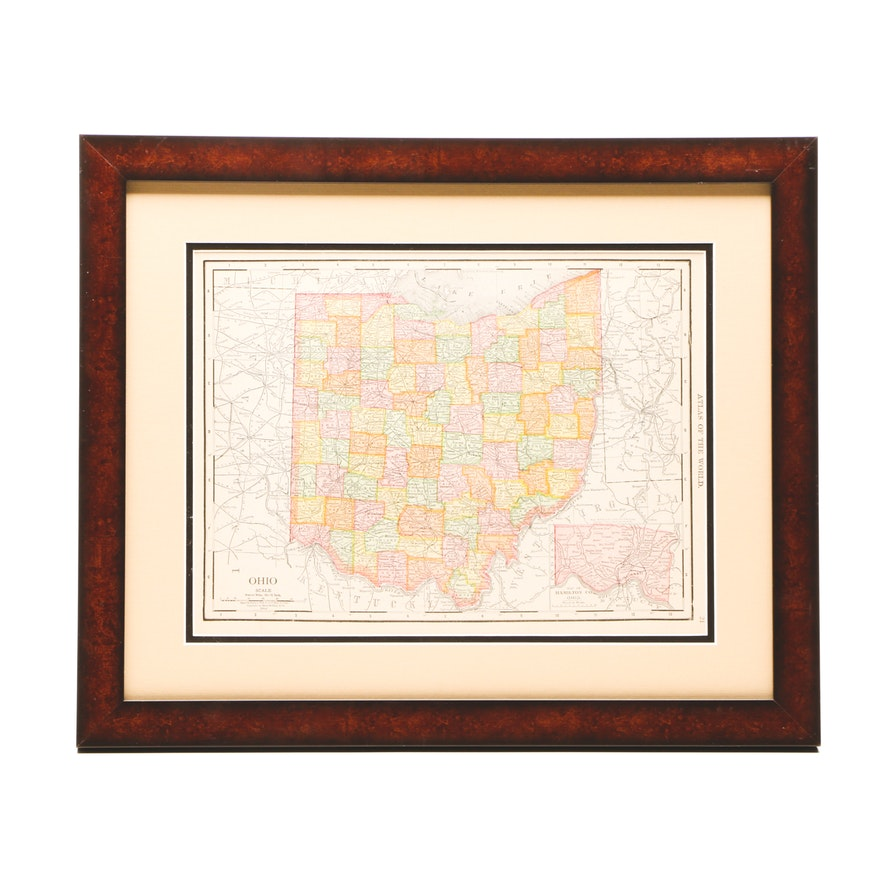 Antique Ohio Map.Antique 1914 Rand Mcnally Lithograph Map Of The State Of Ohio Ebth