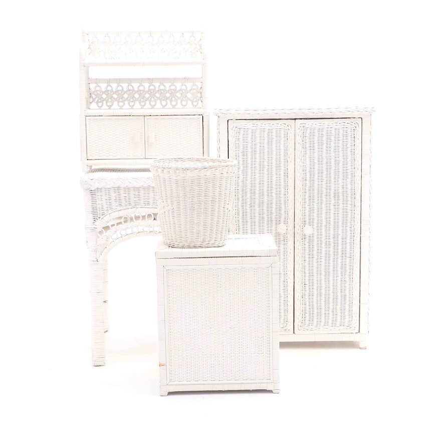 Collection Of White Wicker Bathroom Furniture