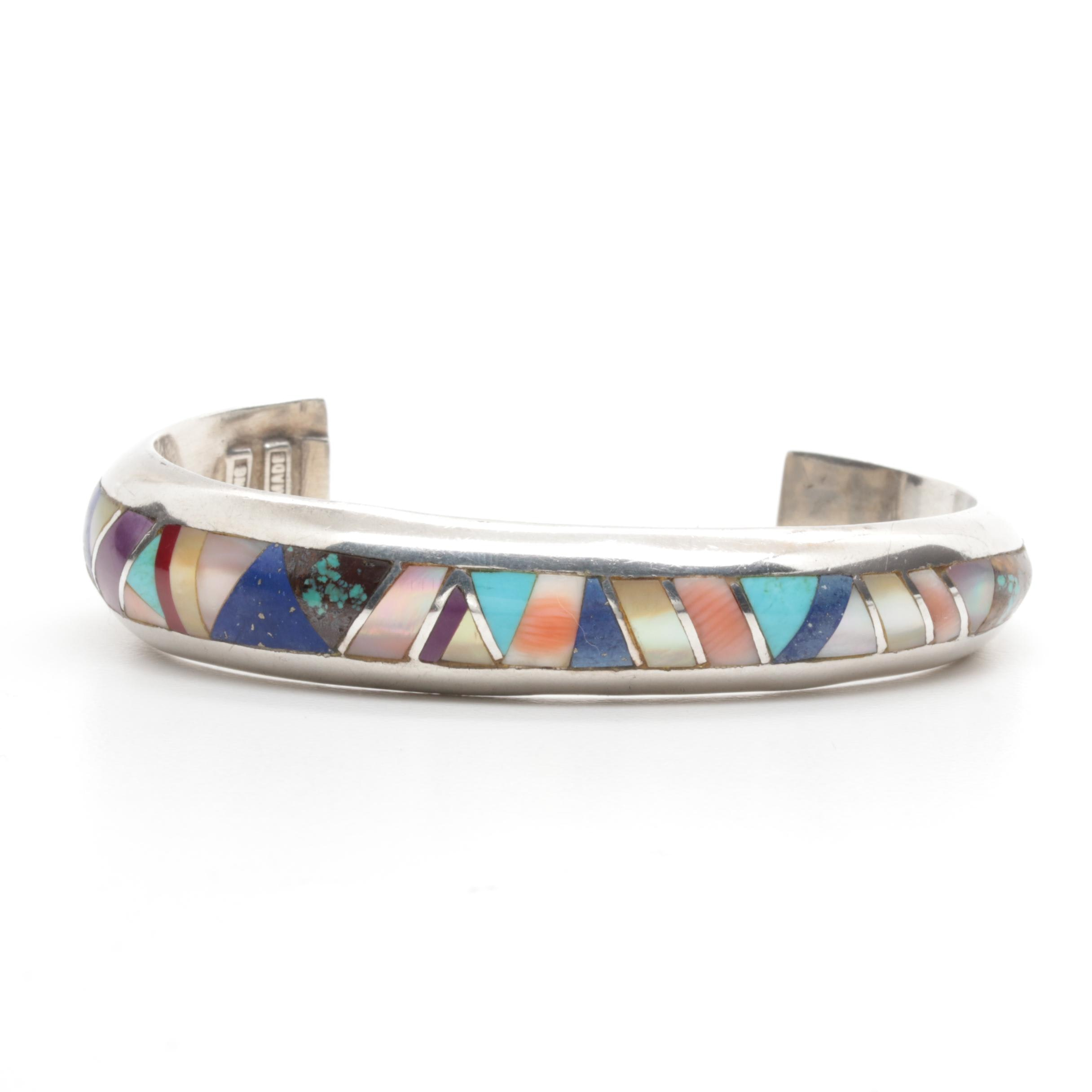Southwestern Style Sterling Silver Cuff Bracelet with Inlay Including Turquoise