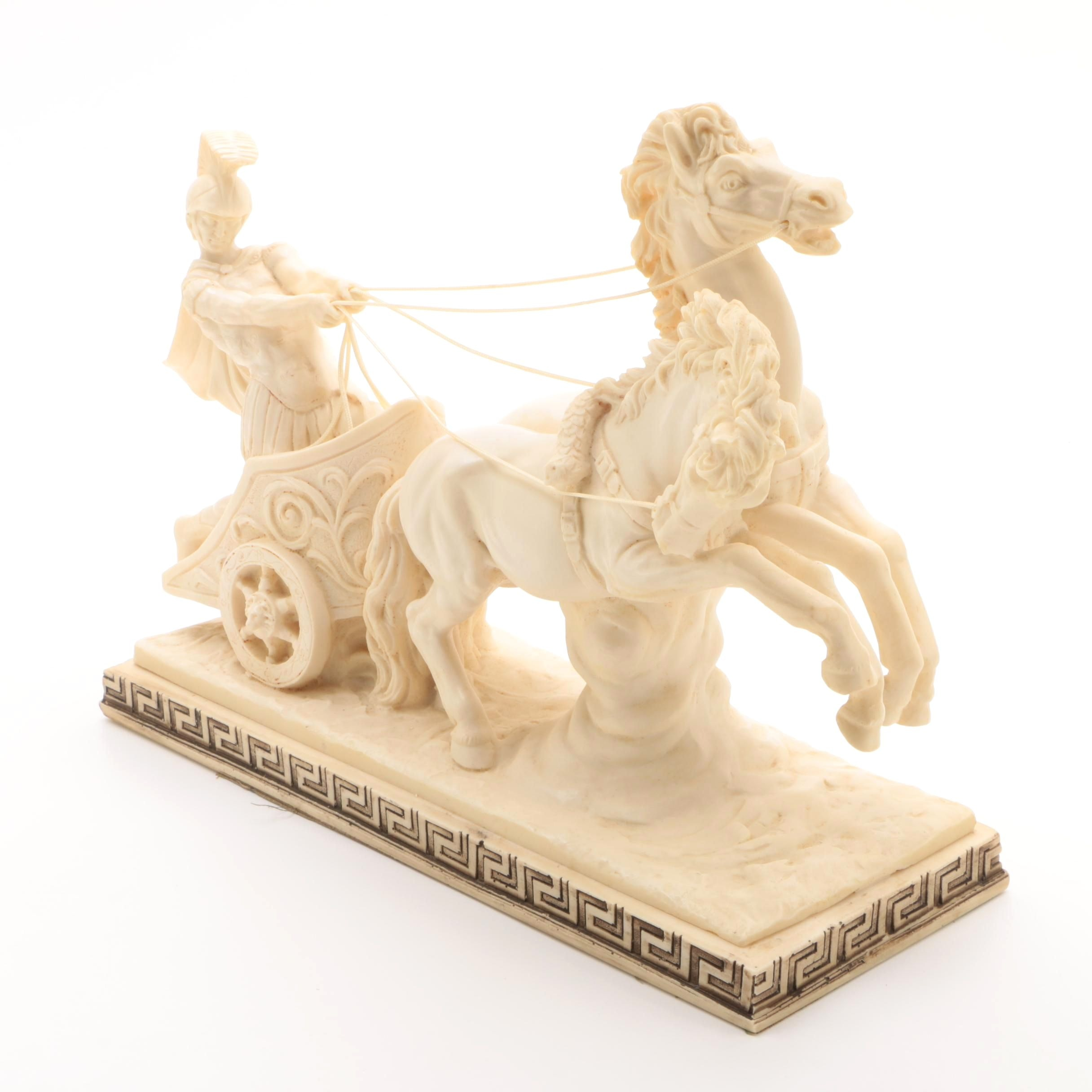 Cast Resin Reproduction Sculpture After A. Santini of Roman Soldier with Chariot