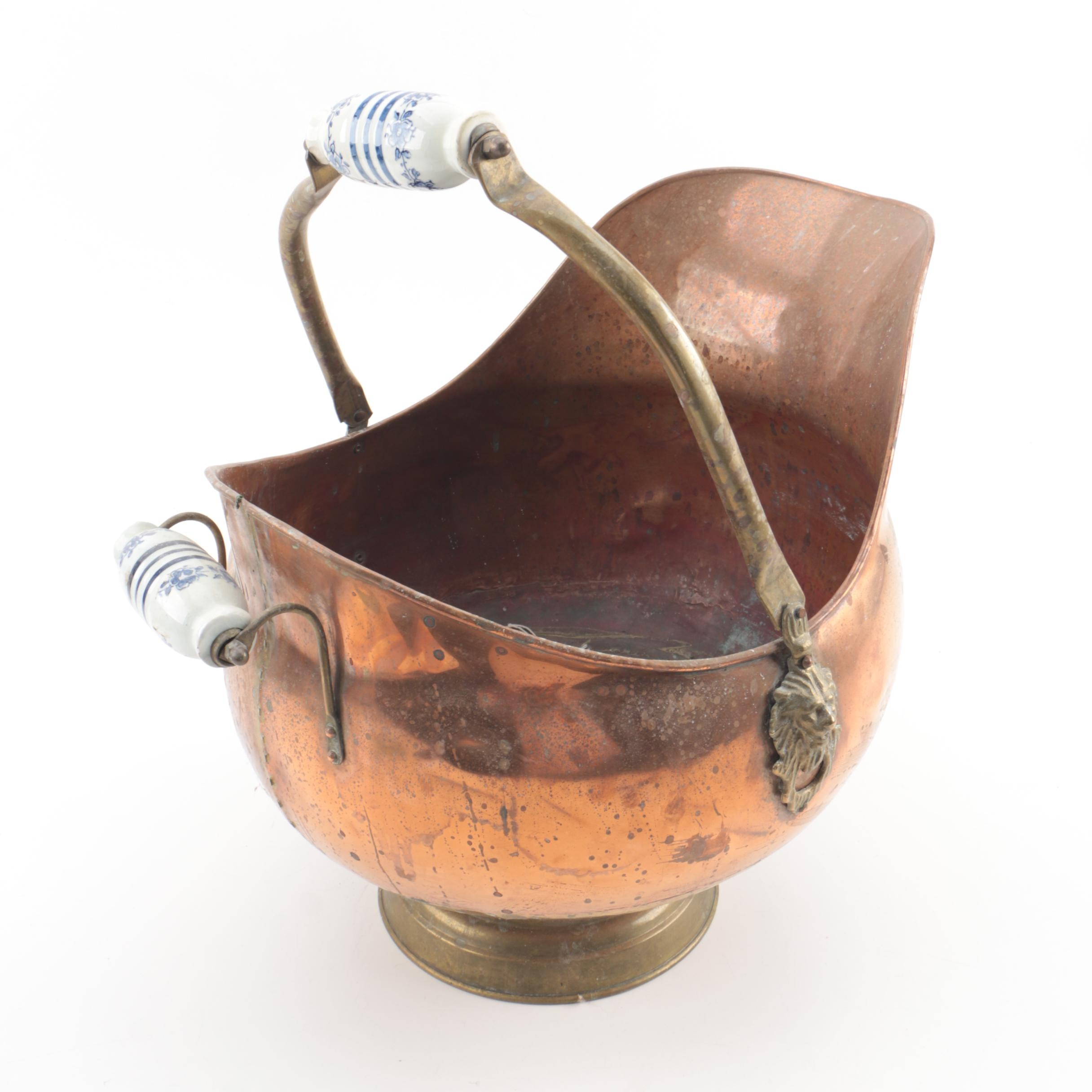 Copper Coal Scuttle with Porcelain Handles