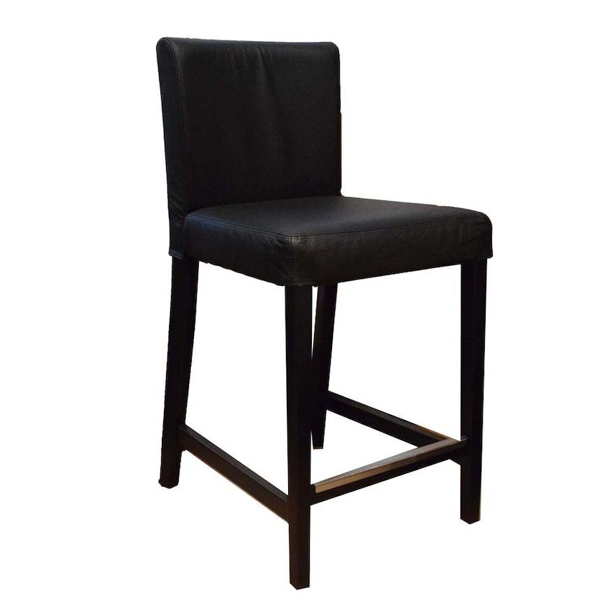 Super Ikea Henriksdal Black Leather Barstool Ebth Machost Co Dining Chair Design Ideas Machostcouk