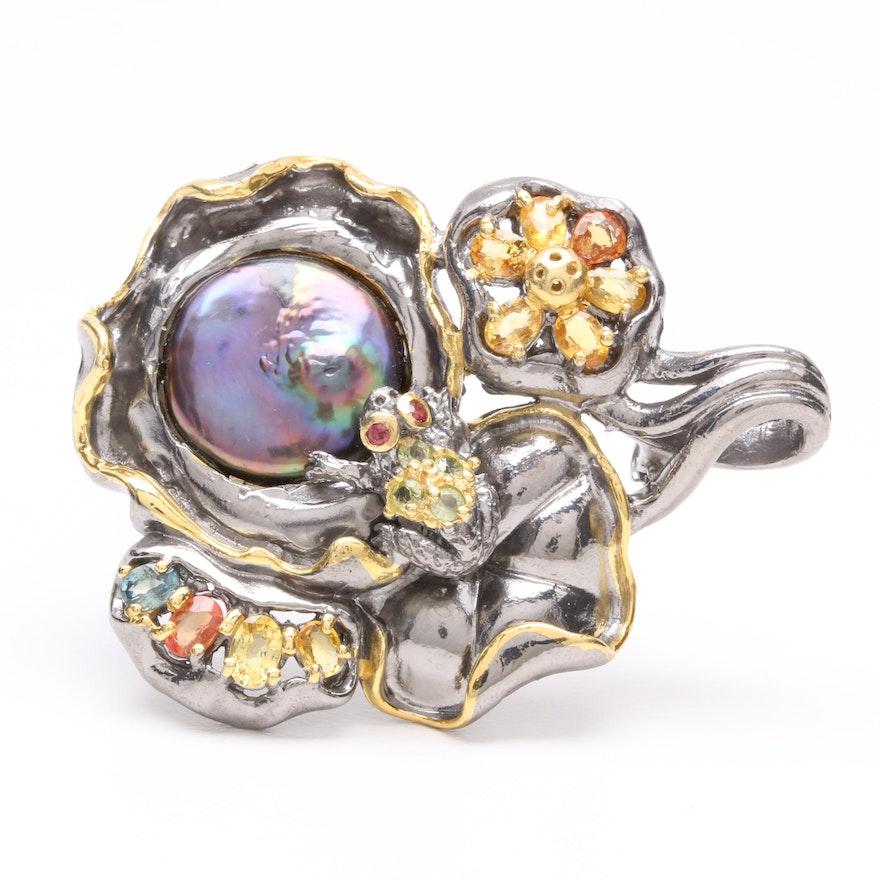 Sterling Silver Cultured Pearl, Sapphire, Peridot, and Rhodolite Garnet Brooch