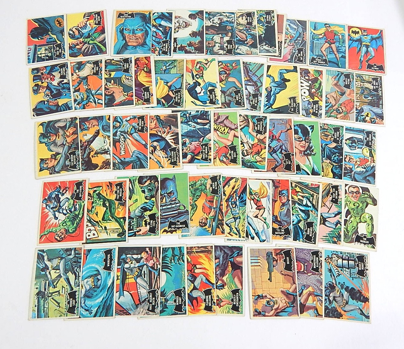 1966 Topps Batman Black Bat Complete Set - 55 Card Count