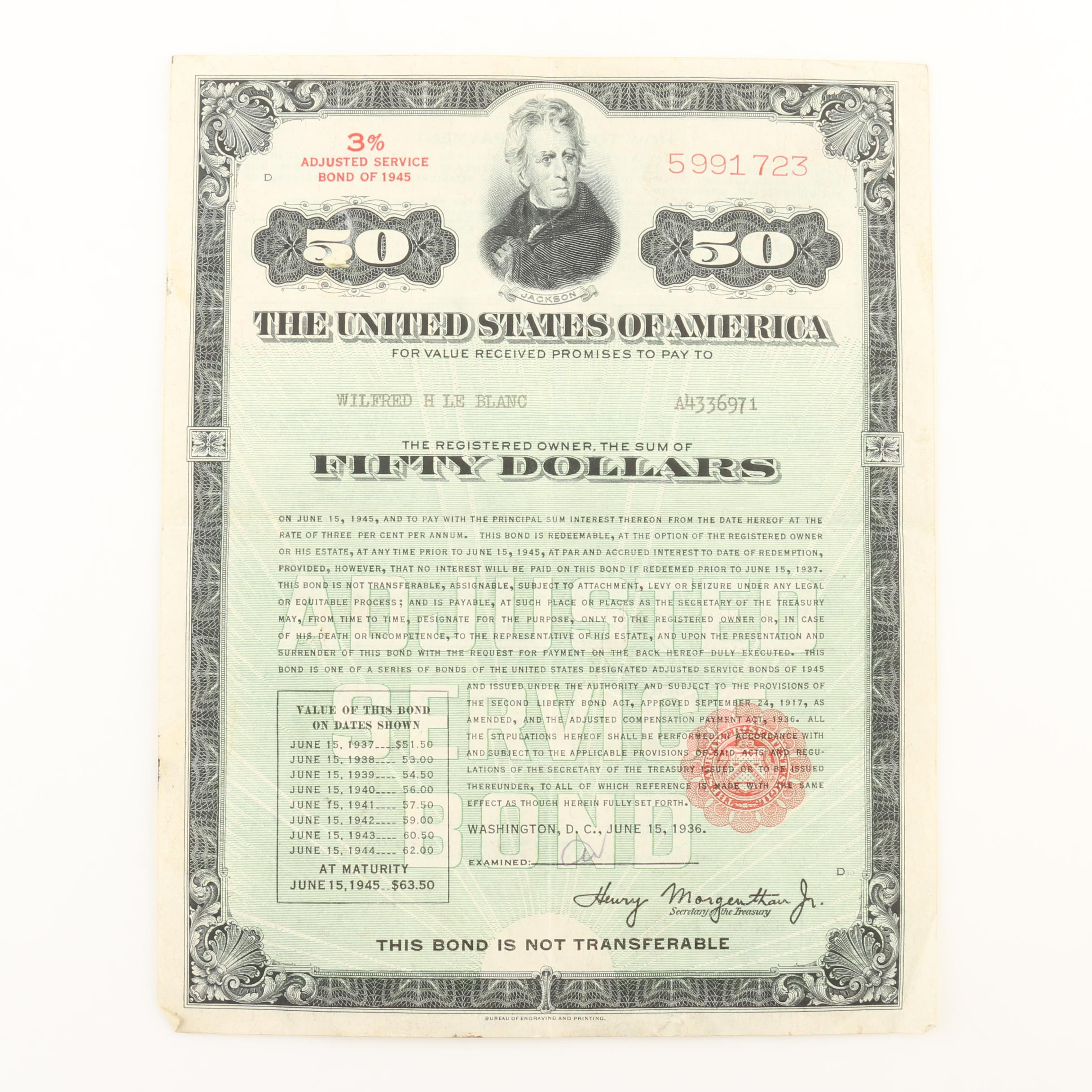 $50 3% Adjusted Service Bond from 1945